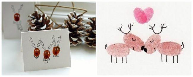 Con huellas digitales es muy sencillo hacer unos renos. Simplemente unta tu dedo con alguna pintura y dibuja. Los niños estarán encantados de participar.