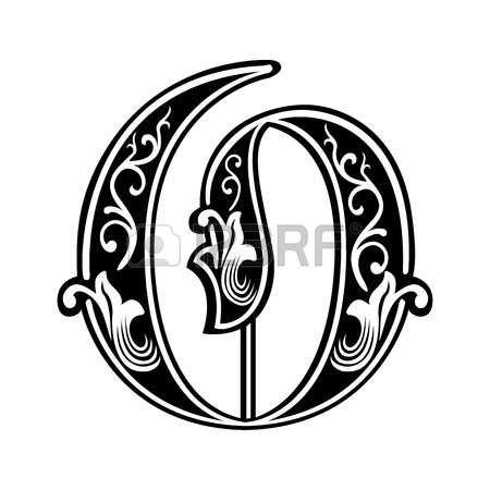Bella decorazione alfabeti inglesi, in stile gotico, lettera O photo