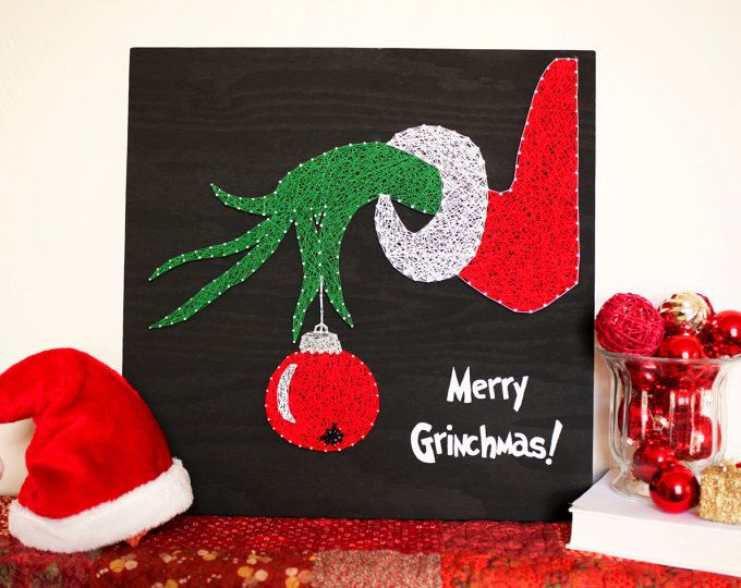 String Art - Merry Grinchmas! Super cute Grinch sign made from just string and nails! Must save for later!!! String Art who knew!