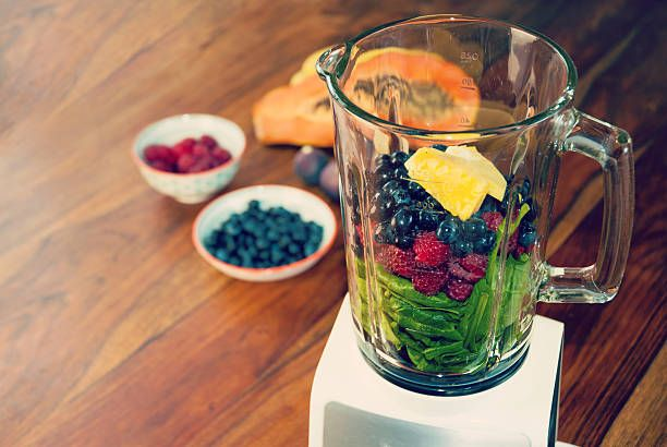 Fruits and vegetables in the blender