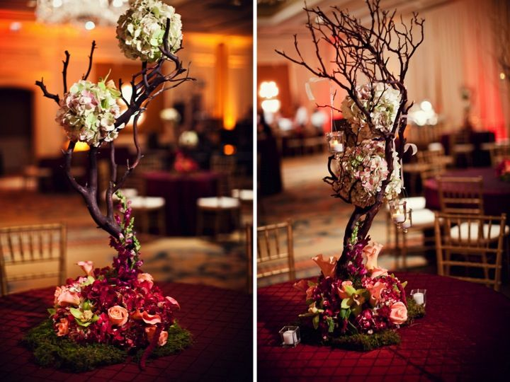 Centerpiece manzanita tree with flowers red