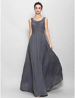 andar de comprimento vestido de chiffon dama de honra Lanting - cinza A Linha Scoop