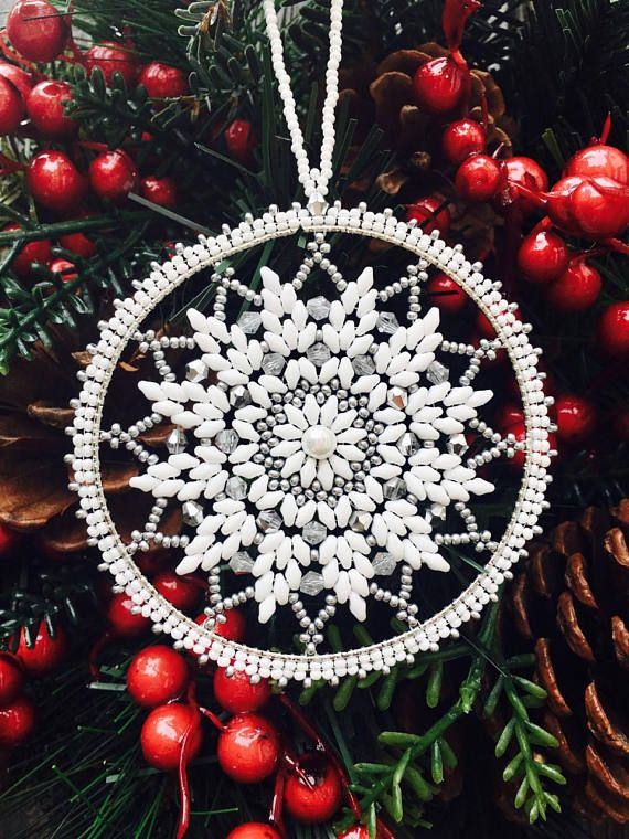 Christmas ornaments-Snowflake Ornament-Beaded Snowflake Ornament-Snowflake with Swarovski crystals-Christmas decorations-Christmas Gift-Handmade Snowflake-Christmas gifts-New Year Ornaments This beautiful snowflake made with white and silver Czech seed beads around beautiful