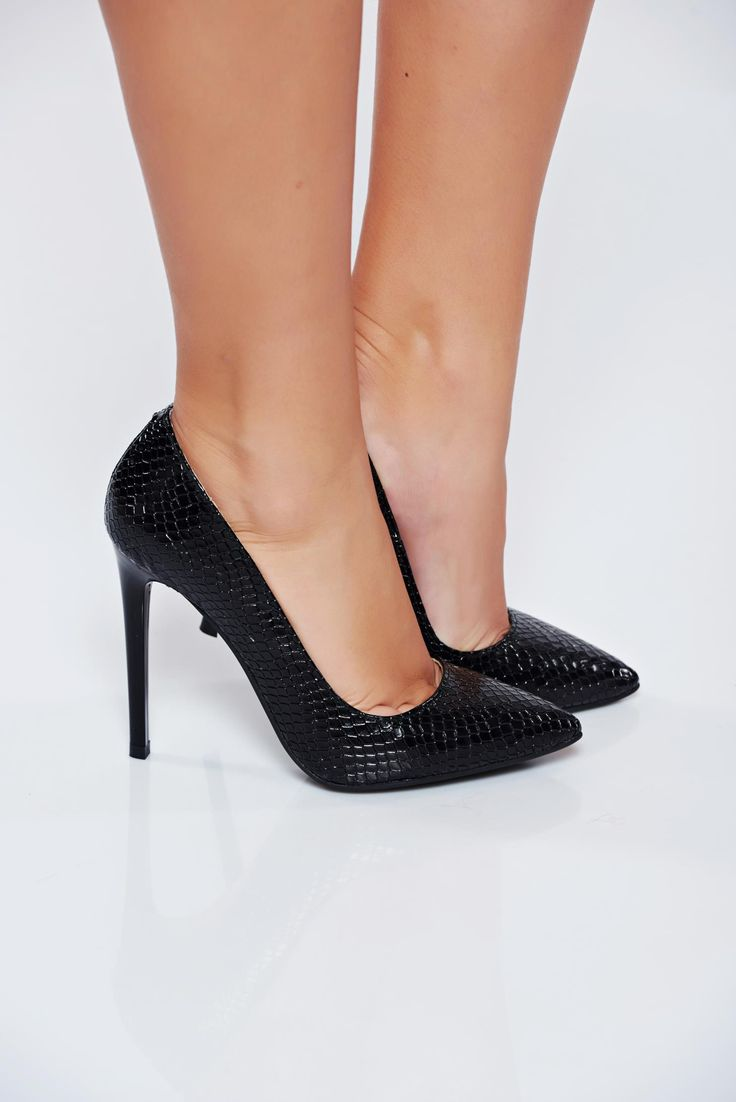 Elegant black stiletto natural leather shoes with high heels, upper material: leather, stiletto, slightly pointed toe tip, high heels