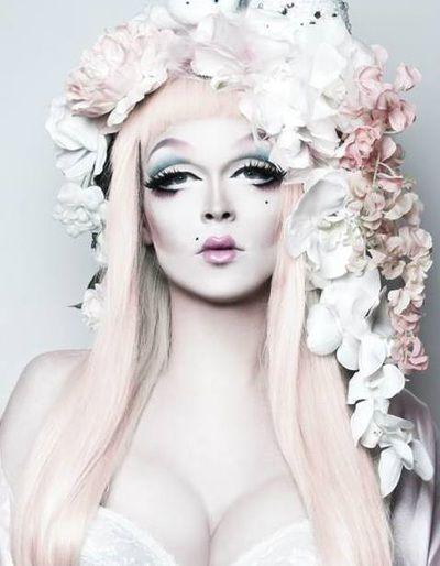 Pearl Liason in an orchid headdress