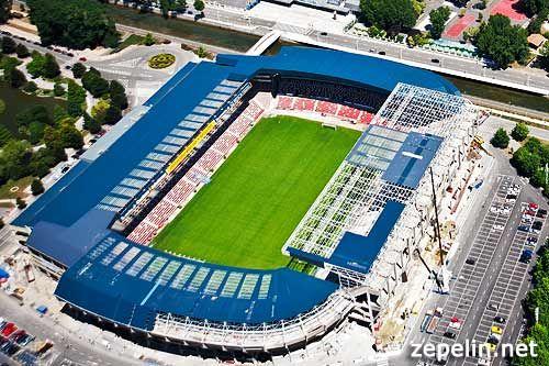 Fotografia aerea del Estadio de futbol El Molinon, en Gijon