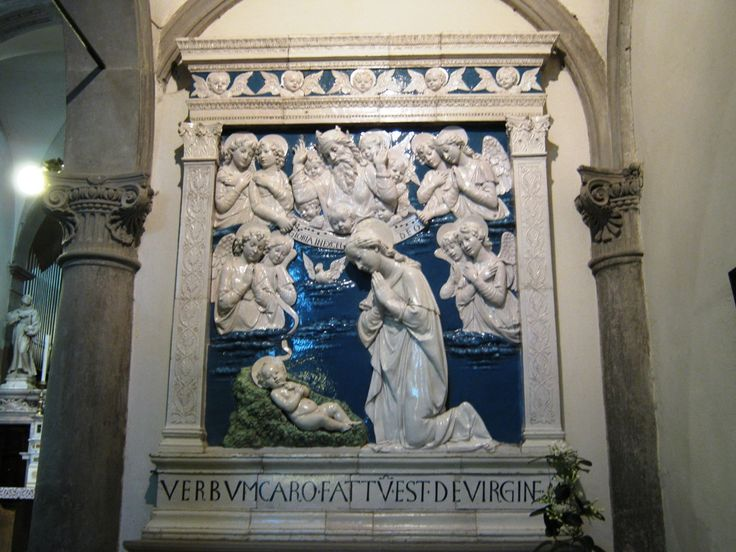 The Nativity by Andrea della Robbia housed in the main church at La Verna - glased terracotta in pure renaissance style
