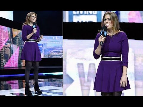 Princess Beatrice Beaming on Inaugural WE Day stage with Purple Bold Mini Dress at New York