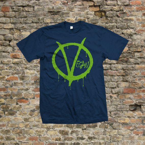 V for Vegan T Shirt 100% cotton 1980 by Stooble on Etsy