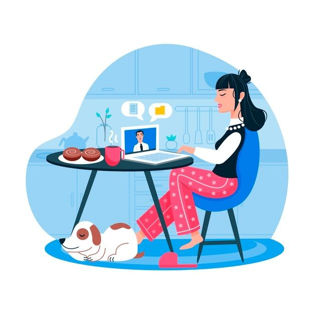 Woman Working From Home And Dog In 2021 Corporate Art Working From Home Vector Free