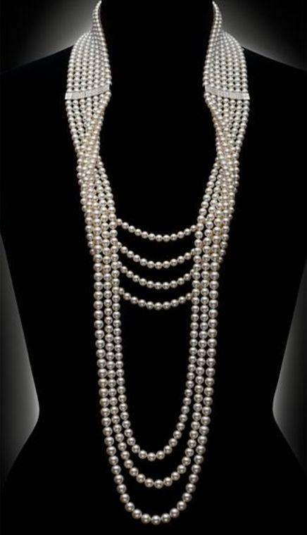 Mikimoto diamond and pearl necklace.