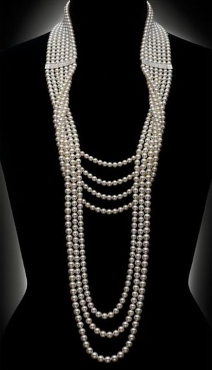 Mikimoto diamond and pearl necklace.