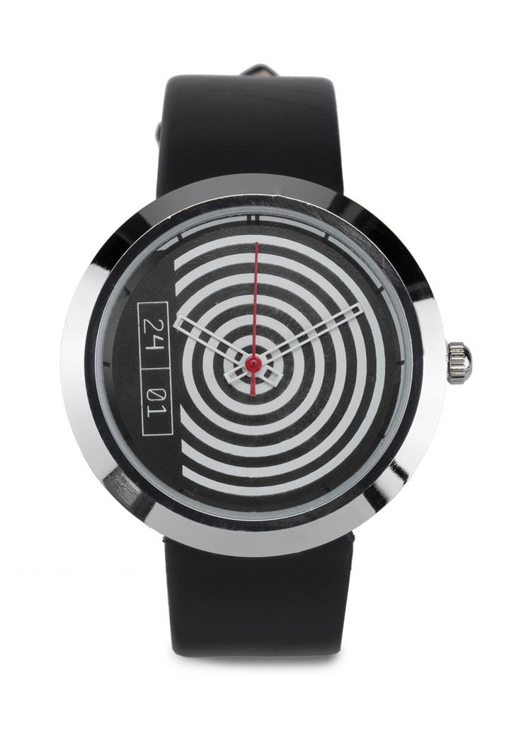 Black and white circular pattern watch with faux leather strap by 24:01. Casual watch with a circular pattern, metal alloy case, synthetic leather, black analog watch, with adjustable pin buckle fastening. http://www.zocko.com/z/JI4Z2