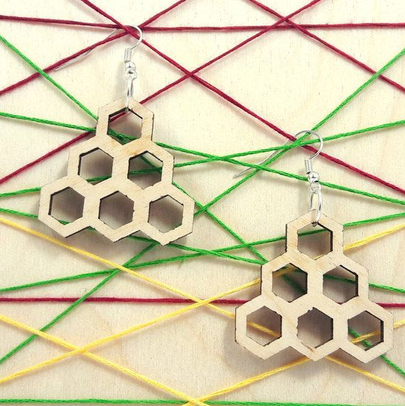 Hexagon wooden earring - jewelry - laser cut - light weight - bridal earrings - for woman - fashion - rings - pairs - triangle - honeycomb