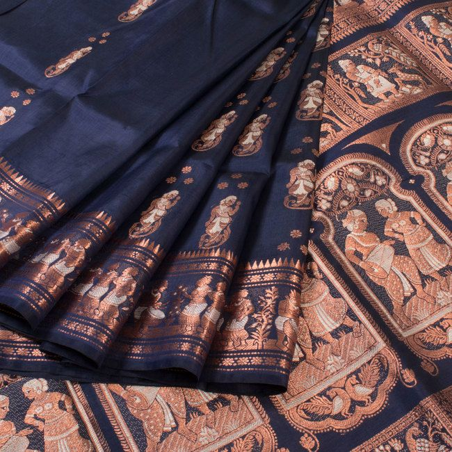 Handwoven Blue Swarnachari Fine Silk & Fine Zari Saree With Dancing Doll Motifs 10018036 - AVISHYA.COM