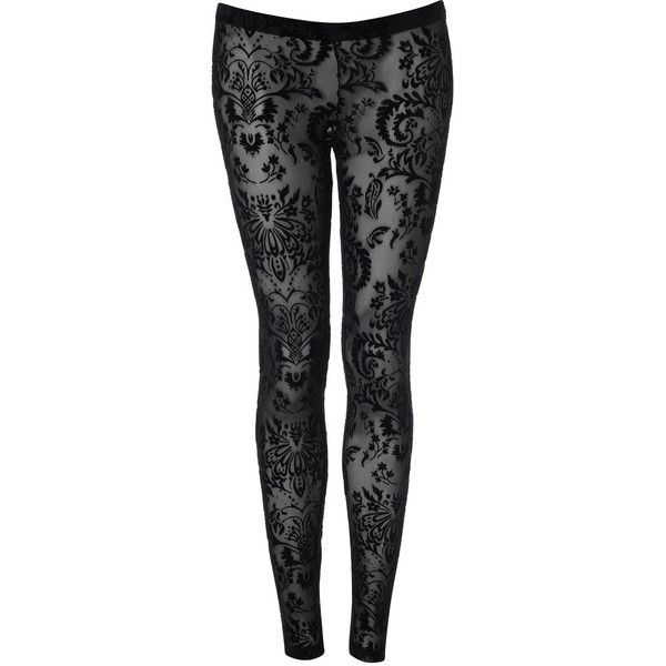 Black Flocked Leggings ($38) ❤ liked on Polyvore featuring pants, leggings, bottoms, jeans, tights, trousers &amp leggings, vintage style, women's clothing, nylon leggings and black nylon leggings