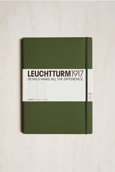 Leuchtturm1917 - Slim Master Notebook - Ruled - A4+ (22x31cm) - Hard Cover - Army Green