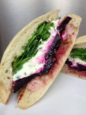 Roasted Beet Sandwiches With Herbed Goat Cheese. Meatless sandwich ...