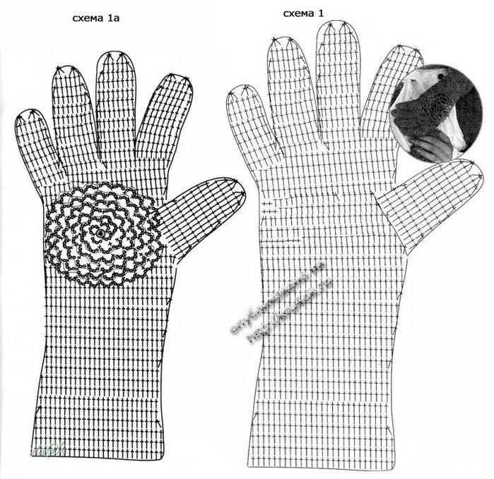 Перчатки крючком . Схема - Варежки,перчатки,митенки - Вязание крючком -МАСТЕР-КЛАССЫ ПО РУКОДЕЛИЮ- Страна рукоделия