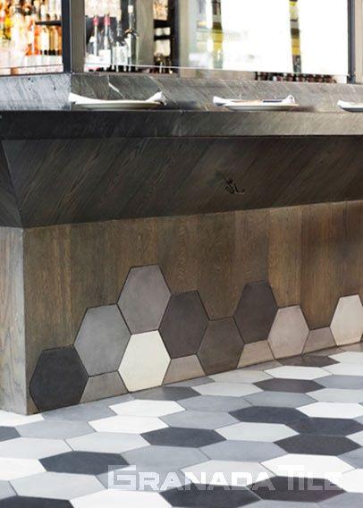 Floor at The Broad Museum's Otium Restaurant cement tiles