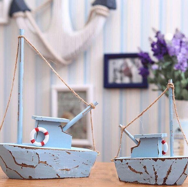 Потертый шик средиземноморском стиле деревянные парусник океан синий ручной ретро отделки модель корабля морской украшения дома
