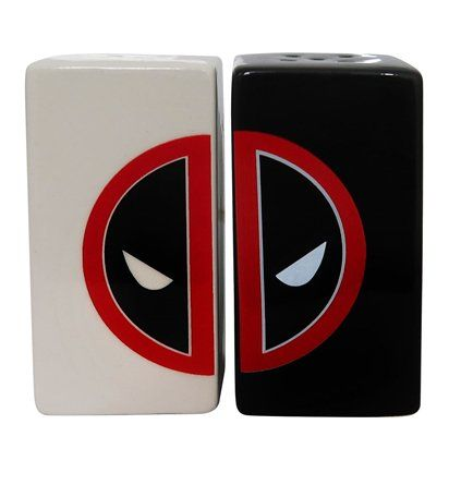 This set of Deadpool salt and pepper shakers features a white shaker sporting 'side-left' of Deadpool's symbol, and a black shaker adorned with 'side-right.'