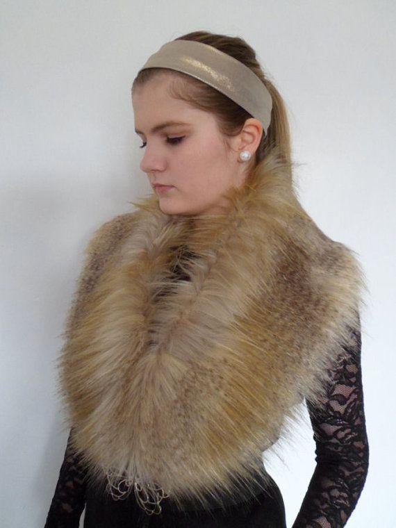 Luxury Faux Fur Collar Stole Shawl Wrap Shrug Gold