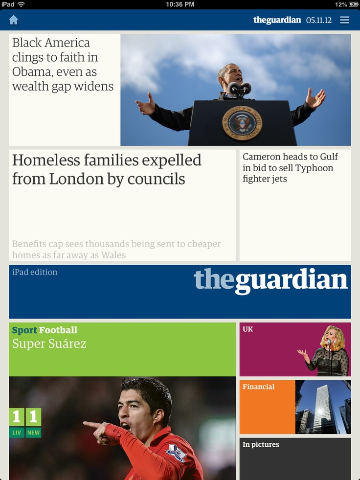 Guardian digital edition - Probably my favourite layout of any app I've seen.