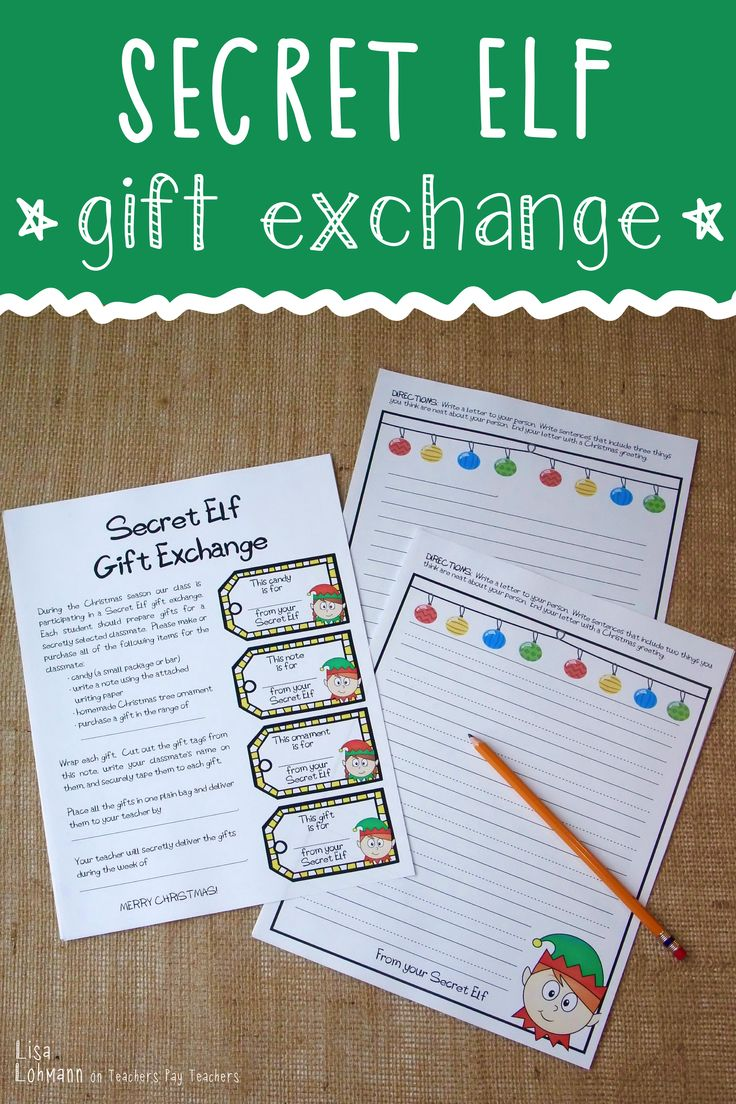 Secret Elf Gift Exchange Kit (for Students) Elves gift