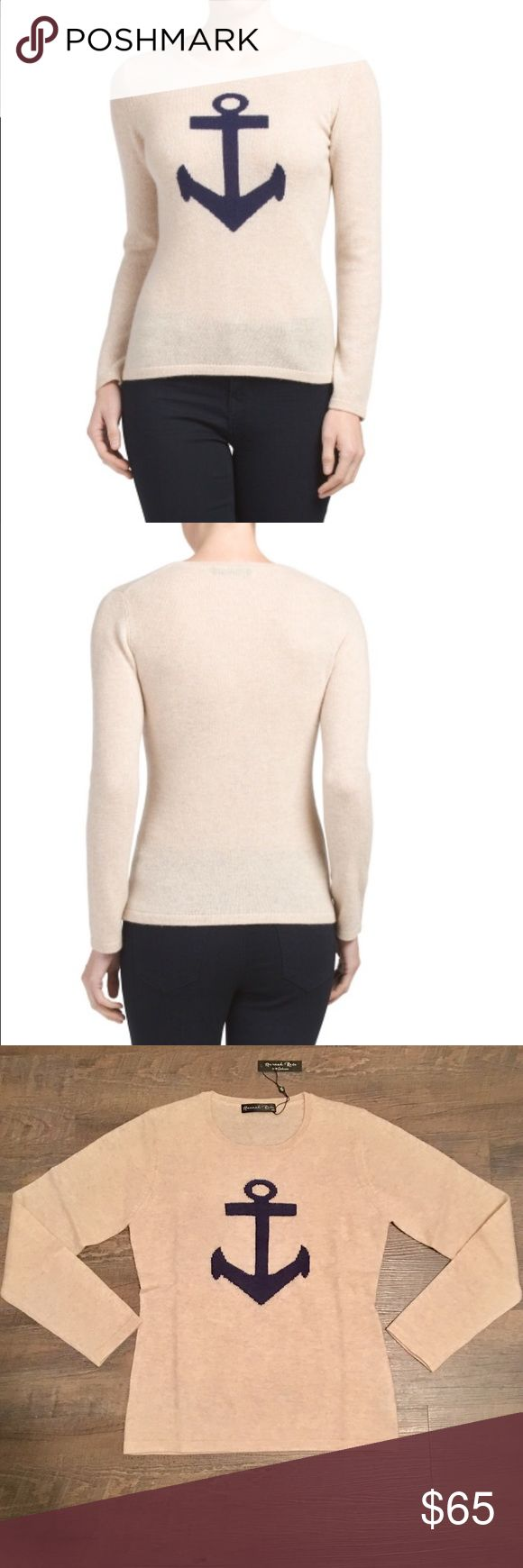 """Tan Anchor Cashmere Sweater Hannah Rose Instarsia Buttery-soft 100% cashmere sweater by Hannah Rose!  Cream/Tan """"Dune"""" color with navy blue Anchor  Brand new with tags!  Retails new for $104!  Size Medium  MEASUREMENTS  Bust 34""""  Shoulder to Shoulder 14-1/2""""  Shoulder to Hem 23""""  Hem 35""""  Sleeve 23-1/2"""" Hannah Rose Sweaters Crew & Scoop Necks"""