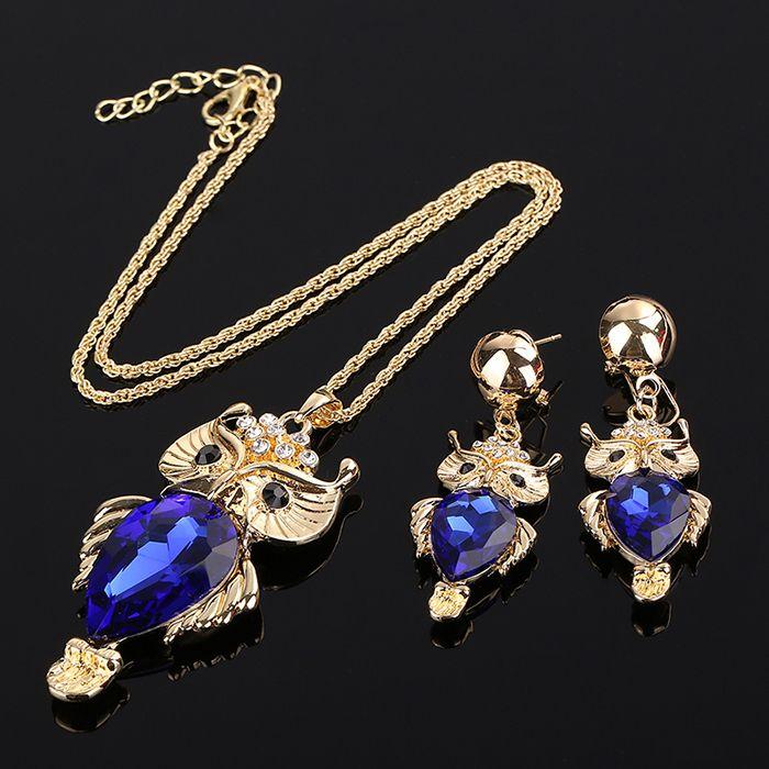Hot Moda Animais Da Cadeia de Acessórios de Ouro Banhado A Coruja Pingente de Colar Conjuntos de Jóias de Presente da Jóia de Cristal Gema Azul(China (Mainland))