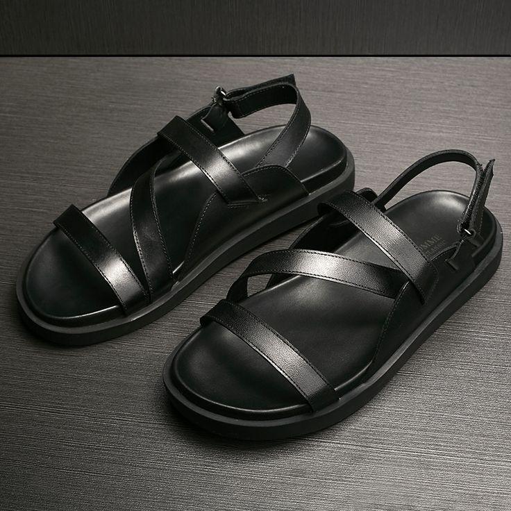 El verano 2016 nueva Roma sandalias de cuero masculina Británica marea personalidad de Los Hombres de Cuero sandalias de suela gruesa mollete en Sandalias de los hombres de Zapatos en AliExpress.com   Alibaba Group