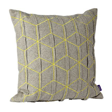 Vilted wool pillow grey/neon yellow (45x45cm) | Mexx