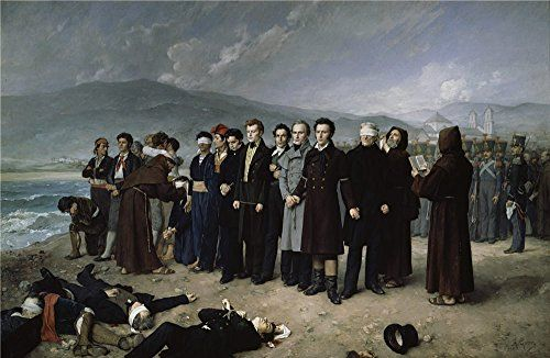 Oil Painting Gisbert Perez Antonio The Execution By Firing Squad Of Torrijos And His Colleages On The Beach At Malaga 1888  Printing On High Quality Polyster Canvas  24 X 37 Inch  61 X 94 Cm the Best Study Artwork And Home Decoration And Gifts Is This High Quality Art Decorative Canvas Prints