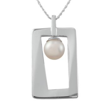 Sterling+Silver+Freshwater+Cultured+Pearl+Rectangle+Pendant
