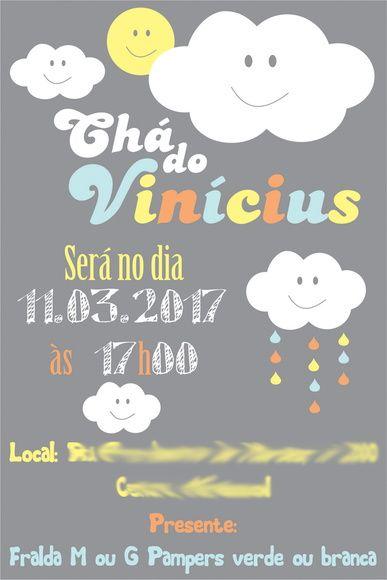 Convite Nuvem Chá De Bebê Digital Chuva De Benção Chuva De Amor