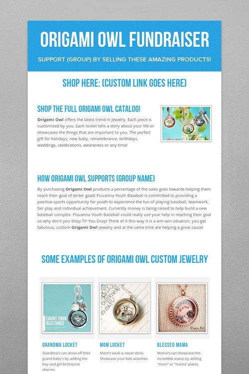Why not do an Origami Owl Jewelry Bar to raise $ for your favorite fundraiser? Contact me today