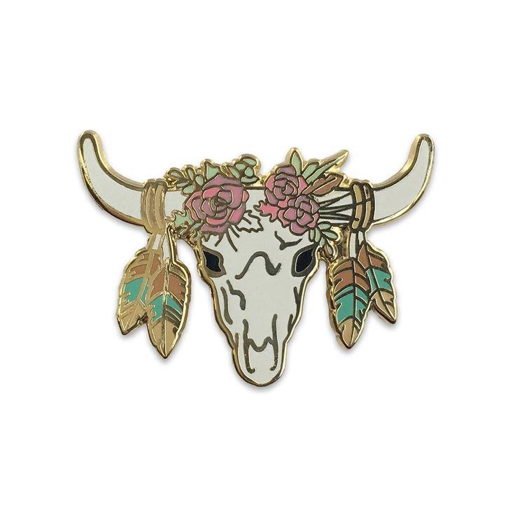 'Longhorn Cow Skull' Pin – Gimme Flair