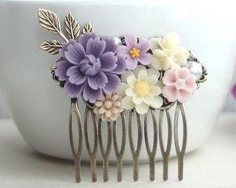 Sfumature di viola, avorio, rosa, marrone fiore Collage filigrana capelli pettine. Pettine di stile vintage. Accessori per capelli damigelle d'onore. Pettine di nozze.