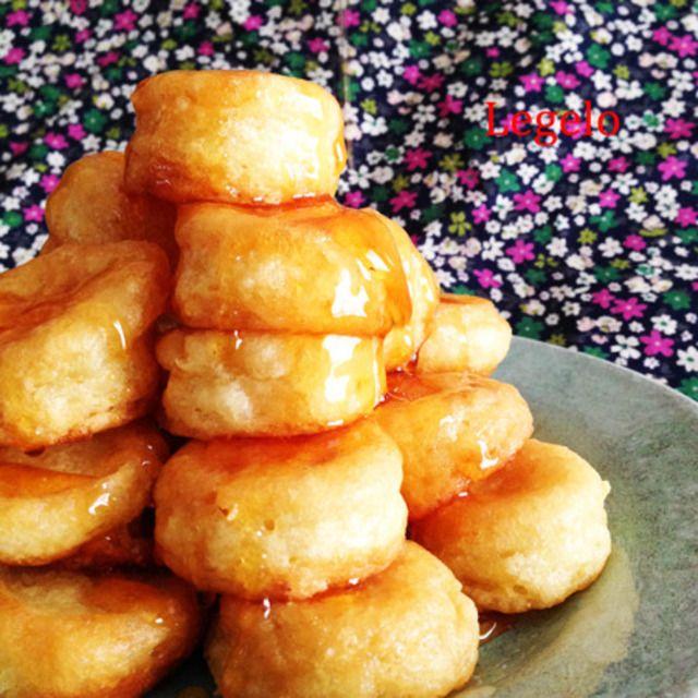 揚げないよ♪ふかふか豆腐ドーナツ☆卵と牛乳なし♪手作りシロップで節約 Non-fried tofu donut