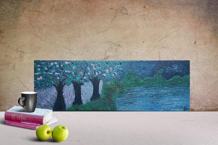 Dark Landscape Painting for Home Decoration - Original Acrylic Painting Modern Art by DeniseArtStudio on Etsy