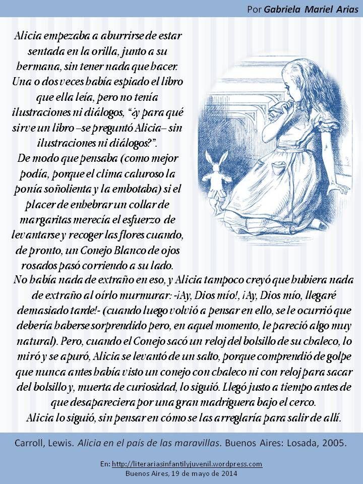 Palabras de novela: ALICIA EN EL PAÍS DE LAS MARAVILLAS de Lewis Carroll. Por Gabriela Mariel Arias.