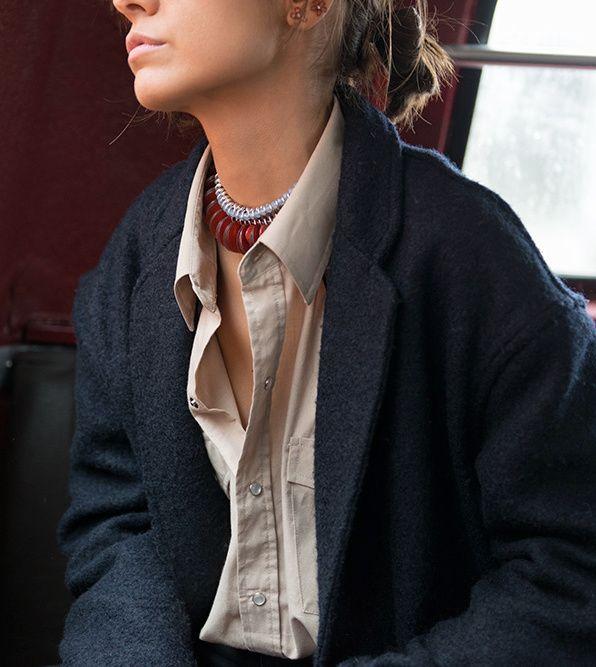 collier esprit tribal chemise beige oversize le bon mix photo the petticoat
