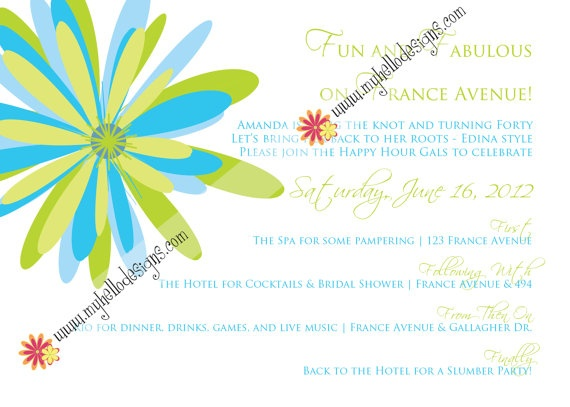 Fun lime & turquoise bridal shower invite.  Perfect for summer!  @myhellodesigns
