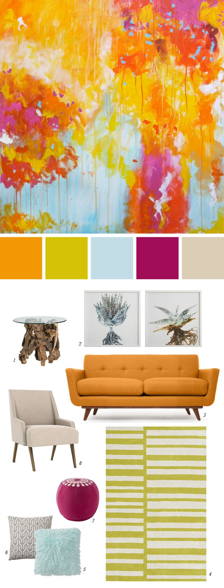 Create a bold and invigorating space with colors inspired by this vibrant  abstract painting.   Inspiration Image: Confetti by Christine Soccio 1. Driftwood Side Table from Crate & Barrel 2. Clinton Fredman Wall Art from West Elm 3. Nixon Loveseat from Thrive Home Furnishings 4. Keys Rug