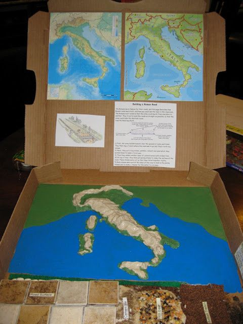 Here's a great idea for making  models of Roman roads and a salt dough map of Italy. Includes step-by-step directions for building the road so that all layers can be seen.