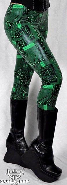 my geek side soo wants these Circuitry Leggings