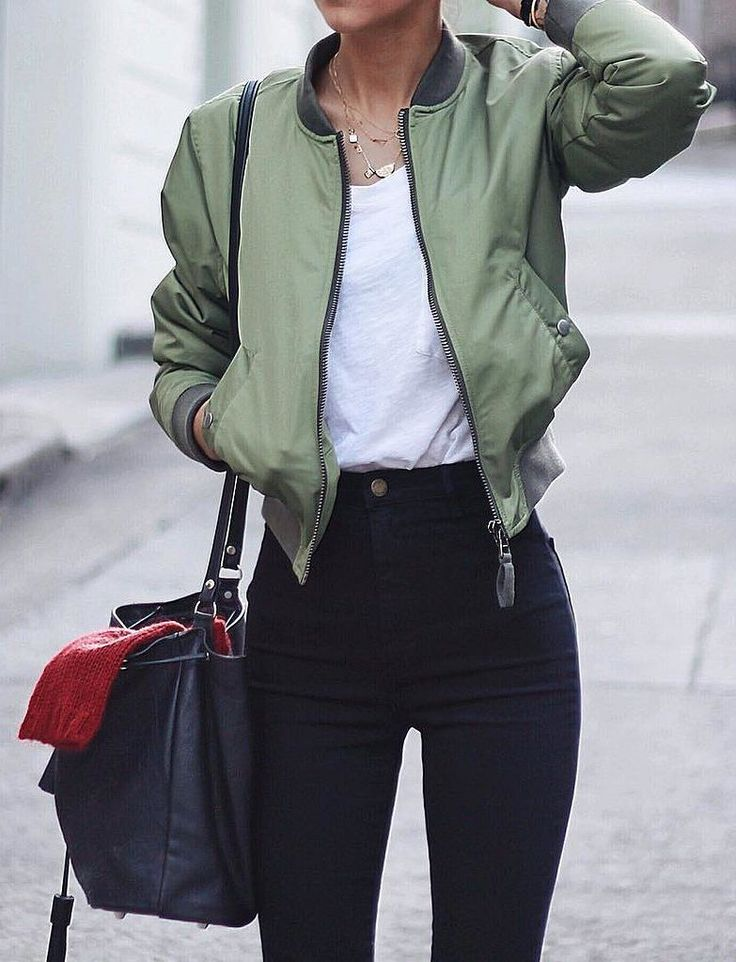 Bomber jacket, white t-shirt, and black jeans