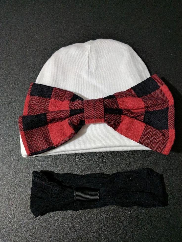 Baby girl beanie white hat red black bow barrett clip headband 0-6months  #Beanie