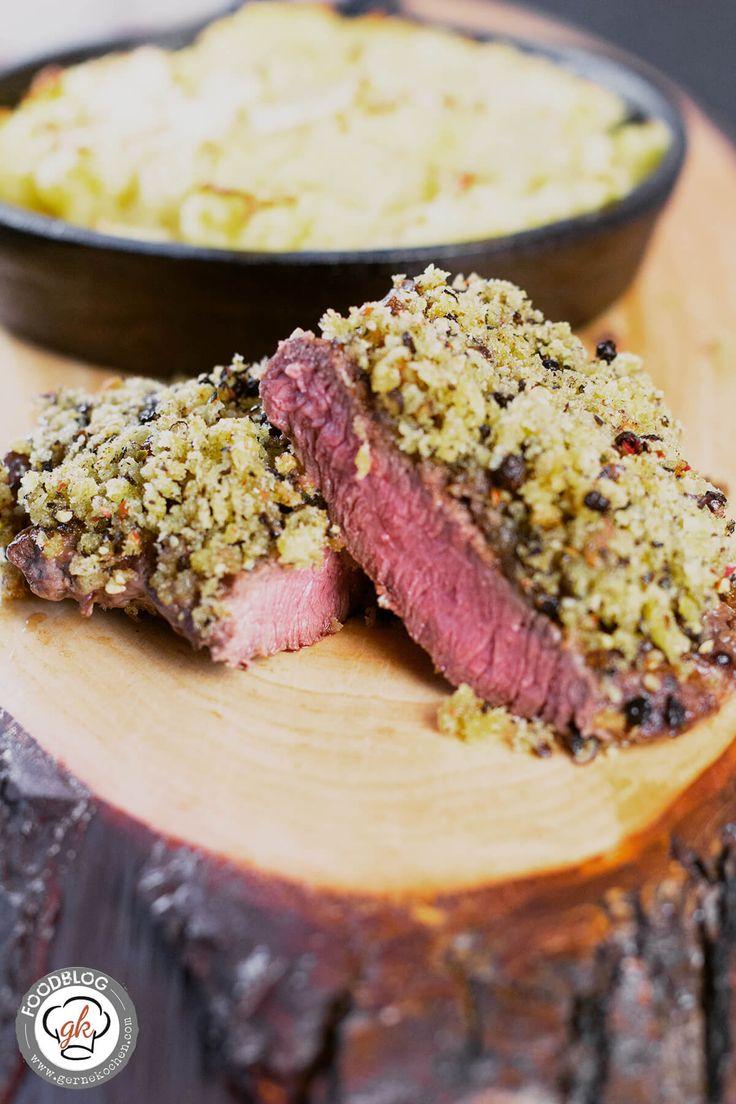 Beef meets Beer: Hüftsteak, vom argentinischen Weiderind, mit Pfefferkruste und gratiniertem Kartoffel-Sellerie-Stampf [Reklame]